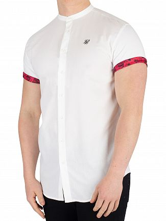 Sik Silk White Grandad Collar Roll Sleeve Shirt