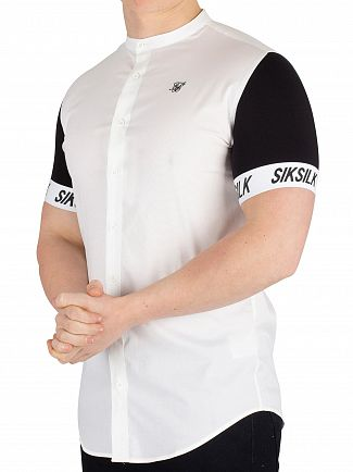 Sik Silk White/Black Grandad Collar Tech Shirt