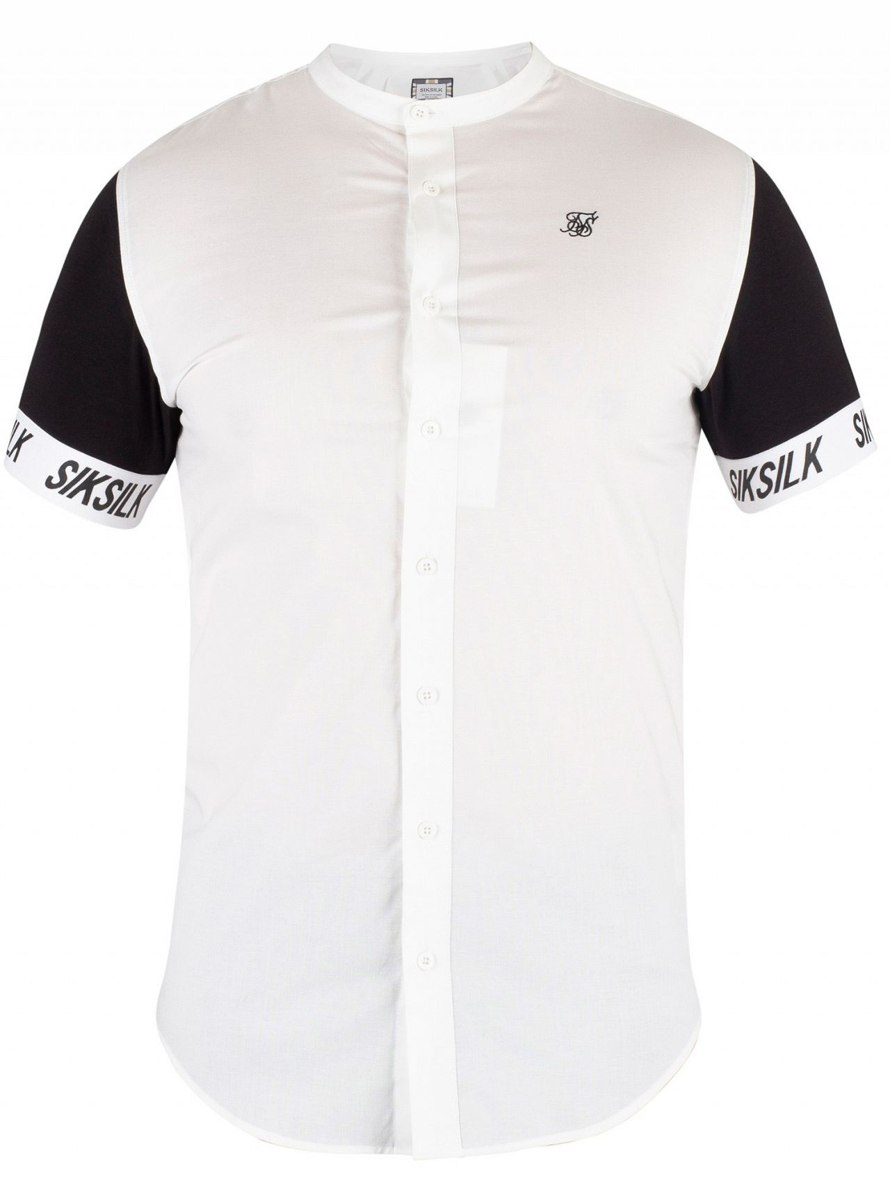 1275a69d88020d Sik Silk White/Black Grandad Collar Tech Shirt | Standout