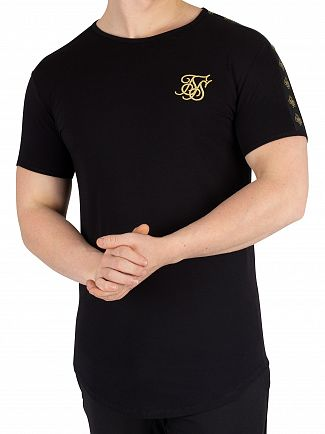 Sik Silk Black Lurex Gold Tape T-Shirt