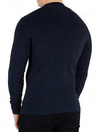 Superdry Eclipse Navy Heritage Longsleeved Grandad T-Shirt