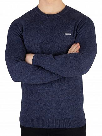 Superdry Brea Blue Grindle Orange Label Cotton Crew Knit