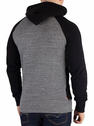Superdry Flint Grey Grit Sweat Shirt Store Raglan Pullover Hoodie