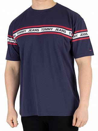 Tommy Jeans Black Iris Navy Essential Tape T-Shirt