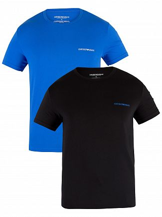 Emporio Armani Black/Wave 2 Pack Crew T-Shirts