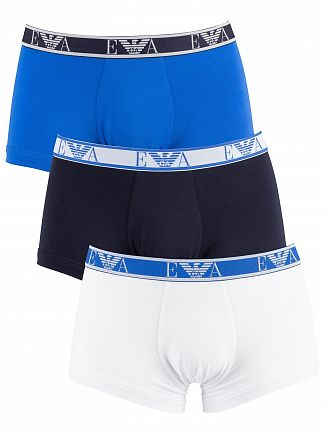 Emporio Armani White/Marine/Wave 3 Pack Trunks