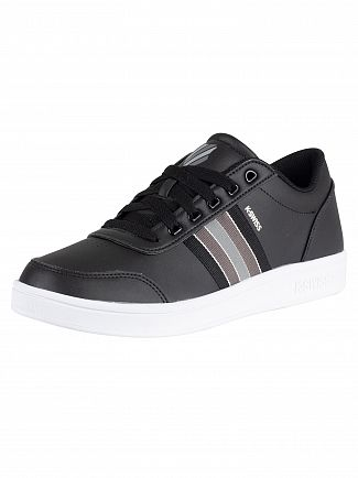 K-Swiss Black/Charcoal Court Clarkson Leather Trainers