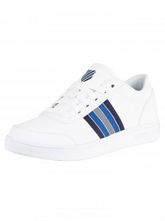 K-Swiss White/Peacoat/Blue Court Clarkson Leather Trainers