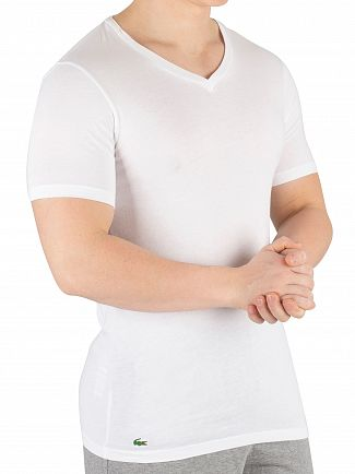 Lacoste White Essentials 3 Pack V-Neck T-Shirt