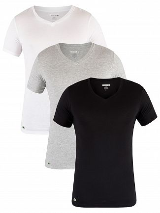 Lacoste Black/Grey/White Essentials 3 Pack V-Neck T-Shirt