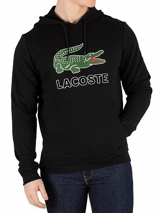 Lacoste Black Graphic Pullover Hoodie
