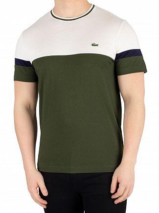 Lacoste Green/Beige/Navy Logo T-Shirt
