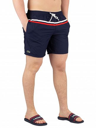Lacoste Navy Striped Swimshorts