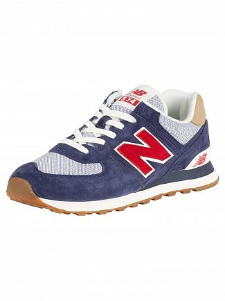 New Balance Navy/Red 574 Suede Trainers