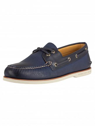 Sperry Top-Sider Titan Navy Gold A/0 2-Eye Boat Shoes