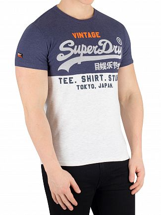 Superdry Princedom Blue Marl/Ice Marl Shirt Shop Tri Panel T-Shirt