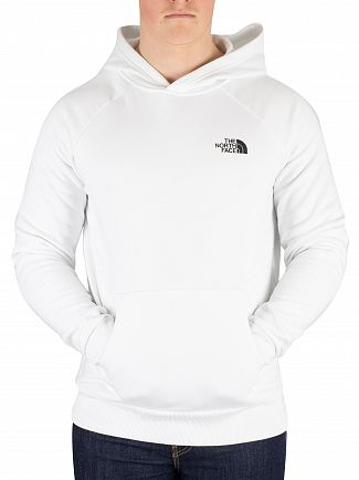 The North Face White Raglan Red Box Pullover Hoodie