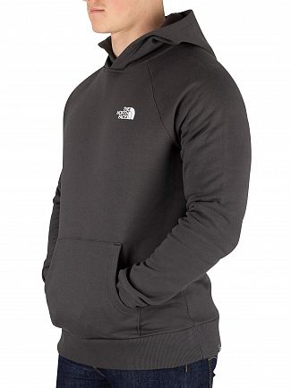 The North Face Asphalt Grey Raglan Red Box Pullover Hoodie