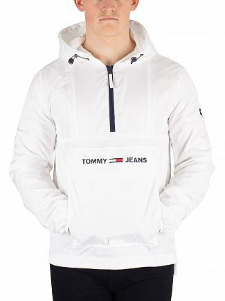 Tommy Jeans Classic White Nylon Shell Solid Popover Jacket