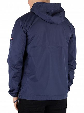 Tommy Jeans Black Iris Navy Nylon Shell Solid Popover Jacket