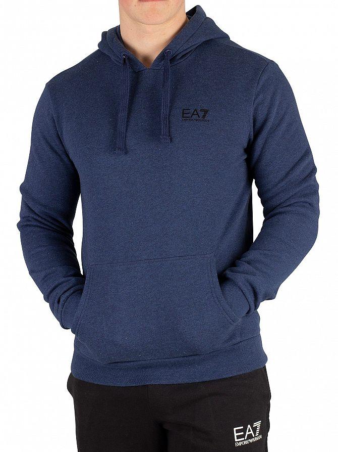 EA7 Blue Melange Pullover Hoodie