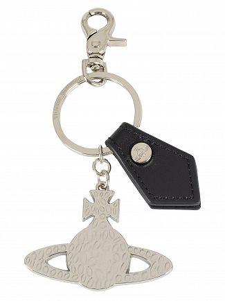 Vivienne Westwood Black Gadget Hammered Orb Silver Keyring