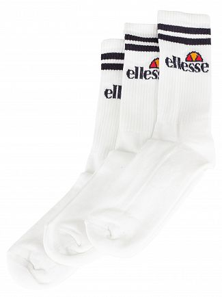 Ellesse White 3 Pack Socks