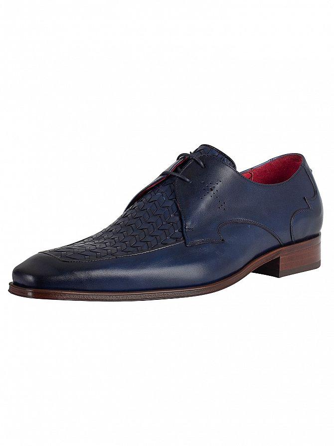 Jeffery West Dark Blue Leather Shoes