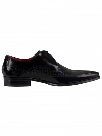 Jeffery West Black Polished Leather Shoes