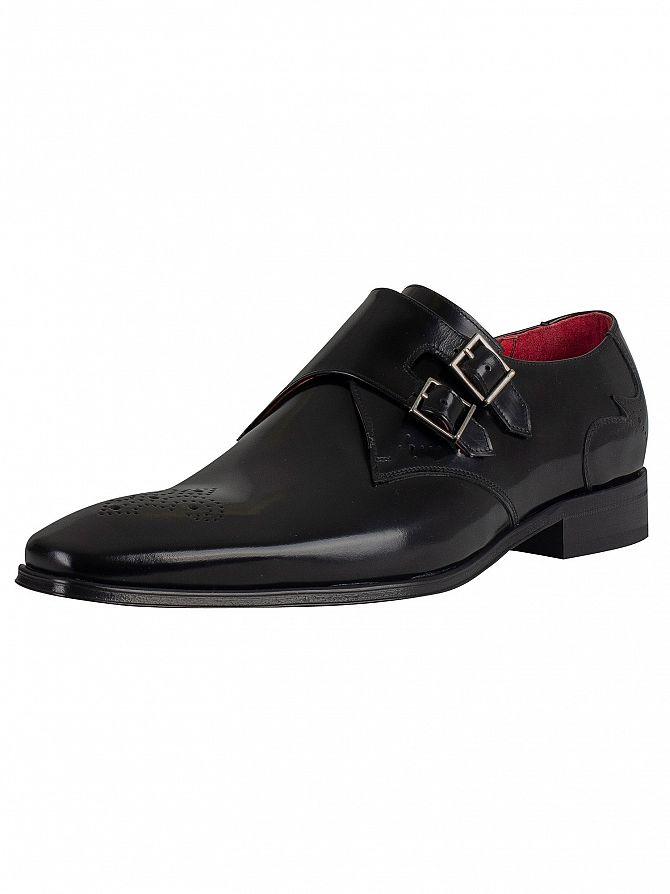 Jeffery West Black Polished Leather Shoes