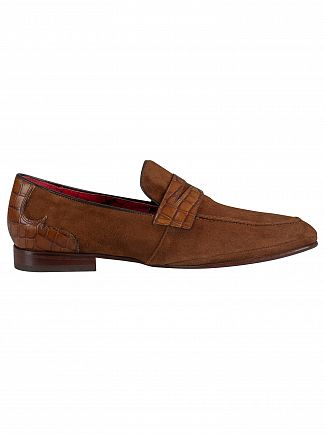Jeffery West Mid Brown/Croco Print Velour Loafers
