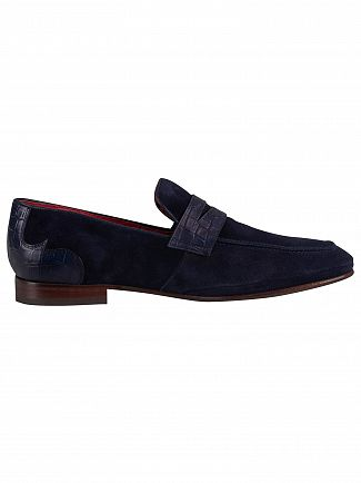 Jeffery West Dark Blue/Croco Print Velour Loafers