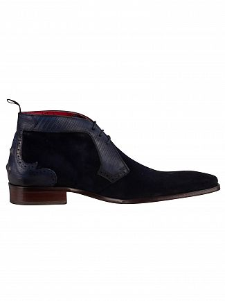 Jeffery West Dark Blue Velour Tejus Print Boots
