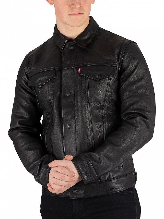 Levi's Type 3 Black Leather Trucker Jacket