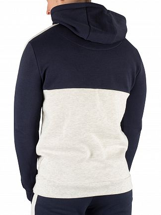 Sik Silk Navy/Snow Cut & Sew Marl Taped Pullover Hoodie