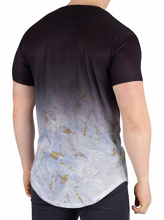 Sik Silk Black/Light Grey Marbleise Curved Hem Fade T-Shirt