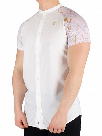 Sik Silk White/Light Grey Marbleise Grandad Collar Short Sleeved Shirt
