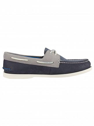 Sperry Top-Sider Navy/Grey A/O 2- Eye Plush Washable Boat Shoes