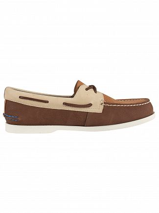 Sperry Top-Sider Brown Tan A/O 2- Eye Plush Washable Boat Shoes