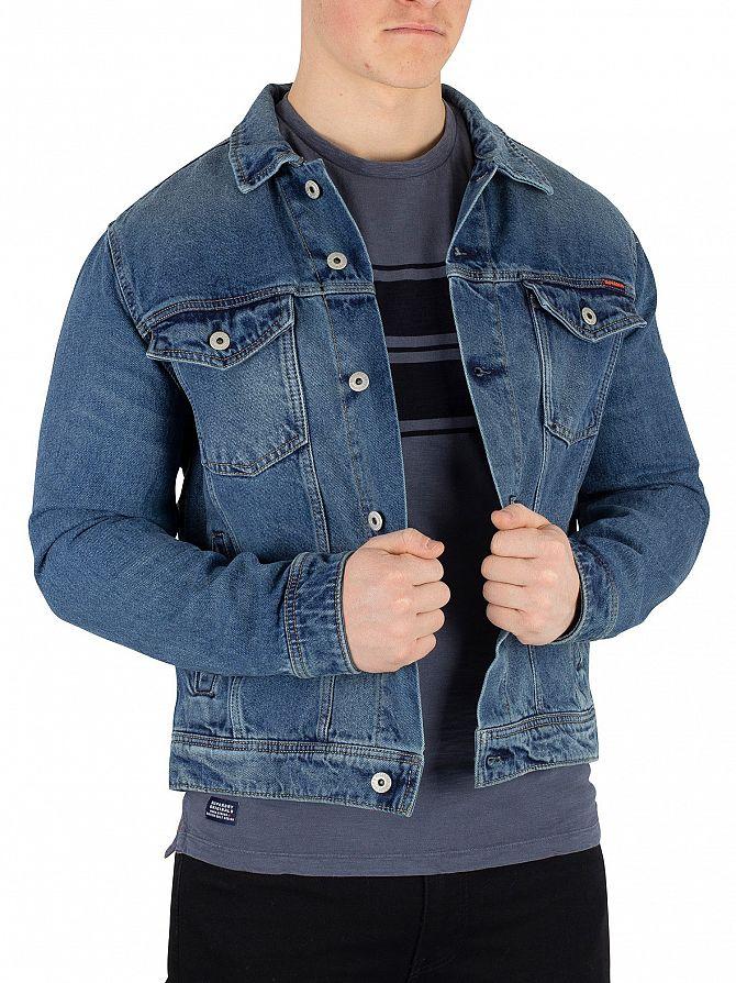 Superdry Vale Mid Blue Highwayman Trucker Jacket
