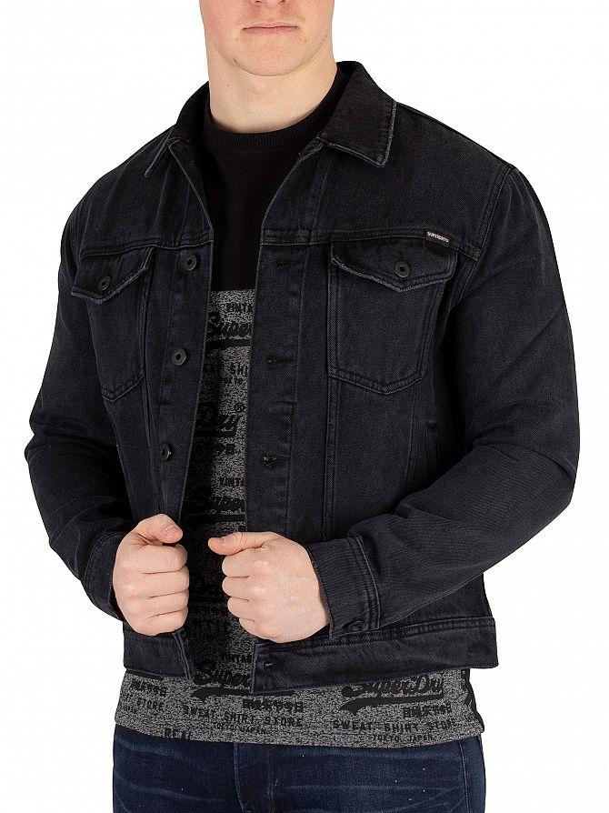 Superdry Elmfield Black Highwayman Trucker Jacket