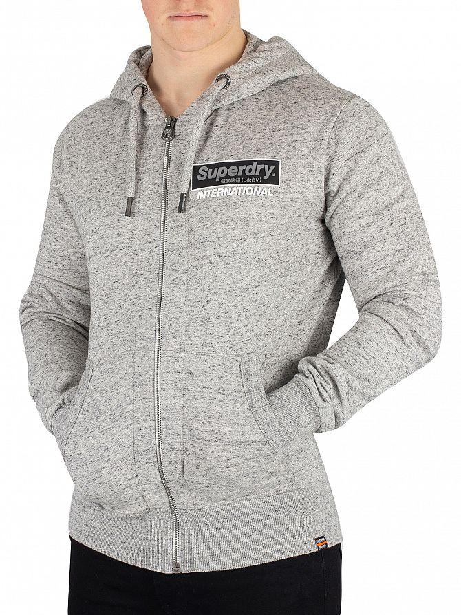 Superdry Grey International Monochrome Zip Hoodie