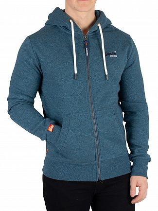 Superdry Rich Teal Grit Orange Label Classic Zip Hoodie
