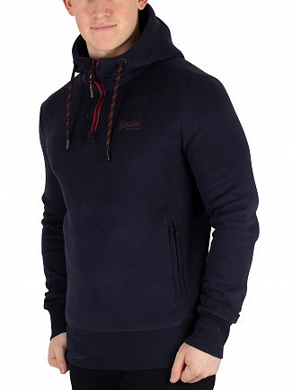 Superdry Highland Navy Orange Label Urban Half Zip Hoodie
