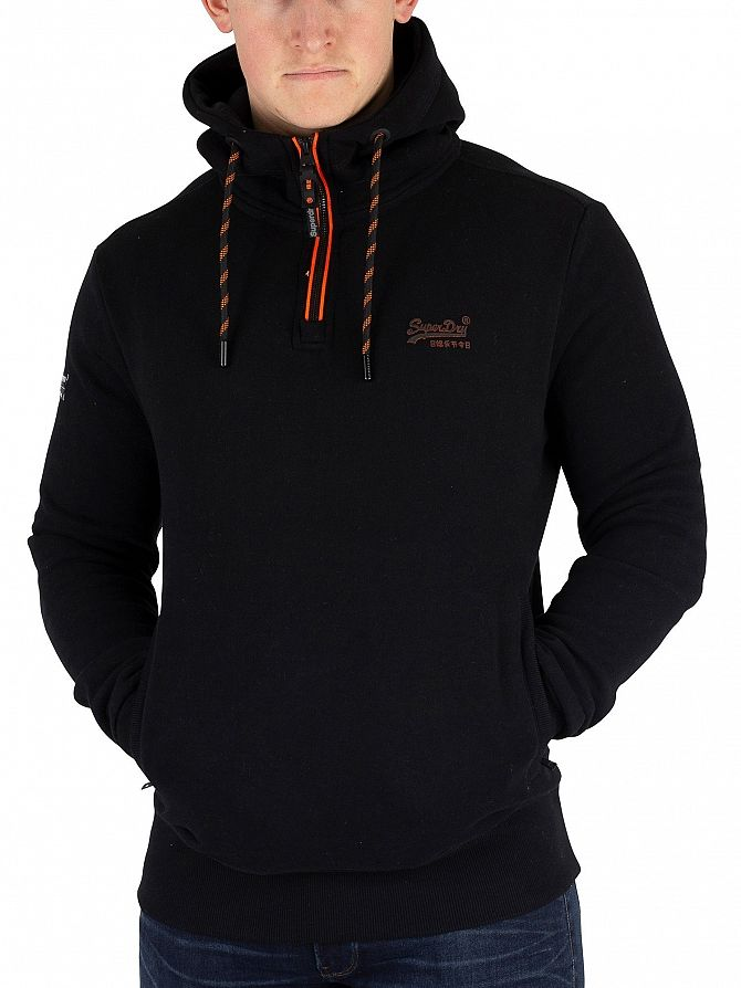 Superdry Black Orange Label Urban Half Zip Hoodie