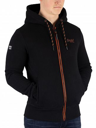 Superdry Black Orange Label Urban Zip Hoodie