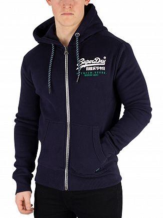 Superdry Academy Navy Premium Goods Racer Zip Hoodie