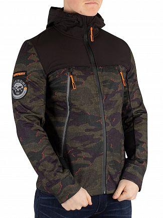 Superdry Khaki Misprint Camo Softshell Camo Hybrid Jacket