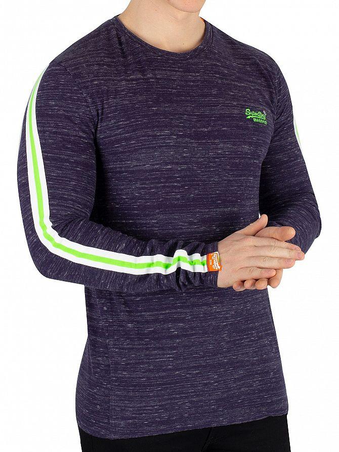 Superdry Indigo Space Dye Vintage EMB Sport Striped Longsleeved T-Shirt
