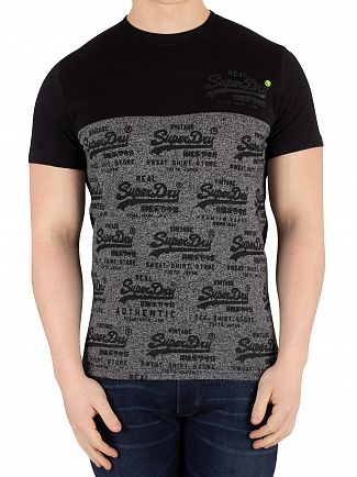 Superdry Black Vintage Logo Neon Panel T-Shirt